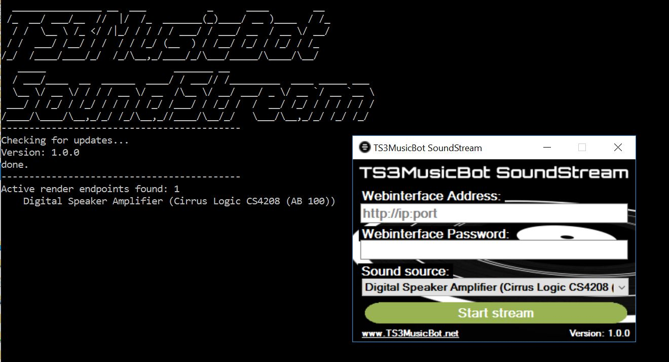TS3MusicBot SoundStream for Windows.